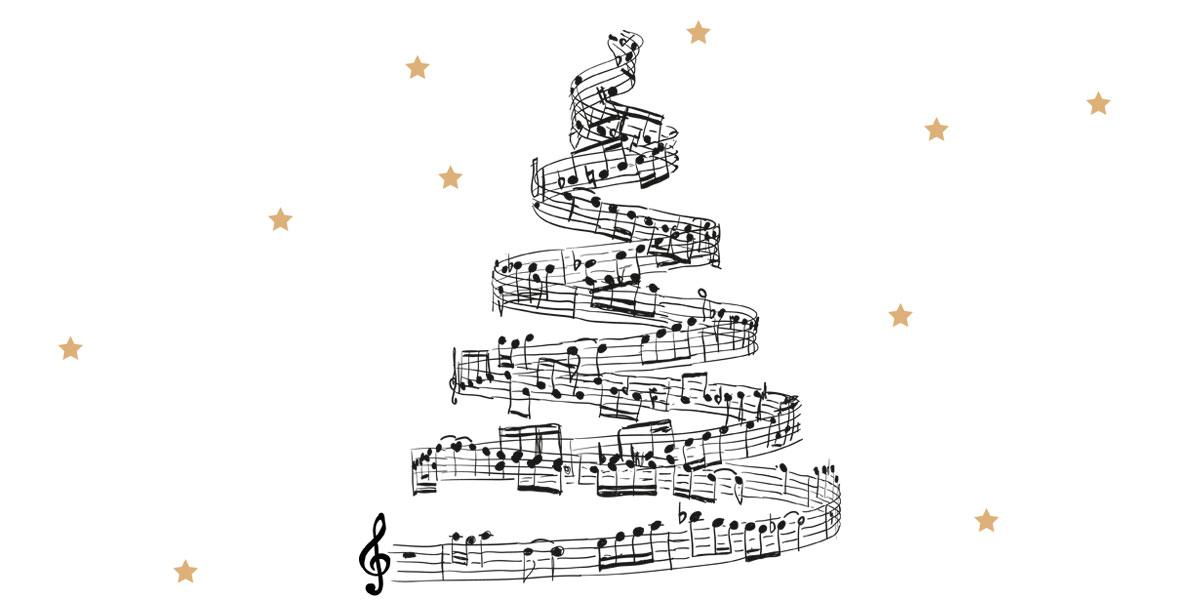 Gospelweihnacht 2017, Grafik: Weihnachtsbaum aus Musiknoten